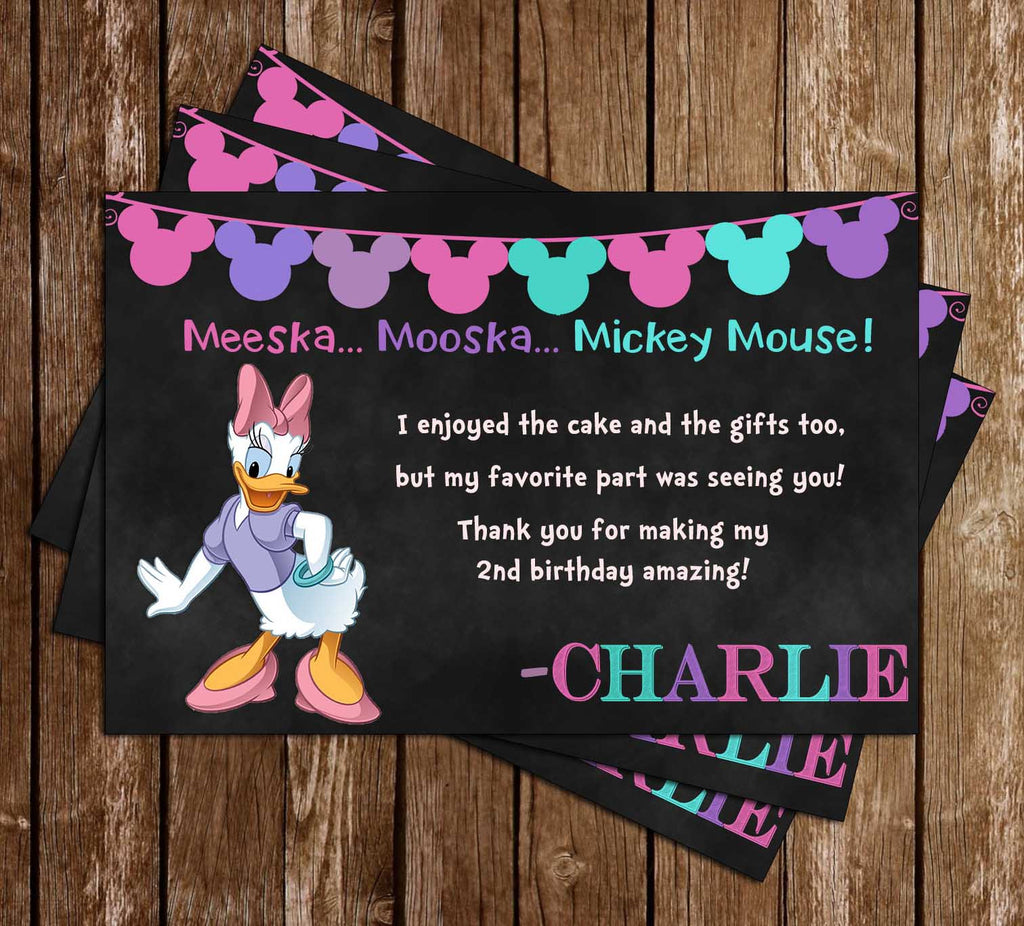Daisy Duck - Mickey Mouse - Chalkboard Birthday - Thank You Card