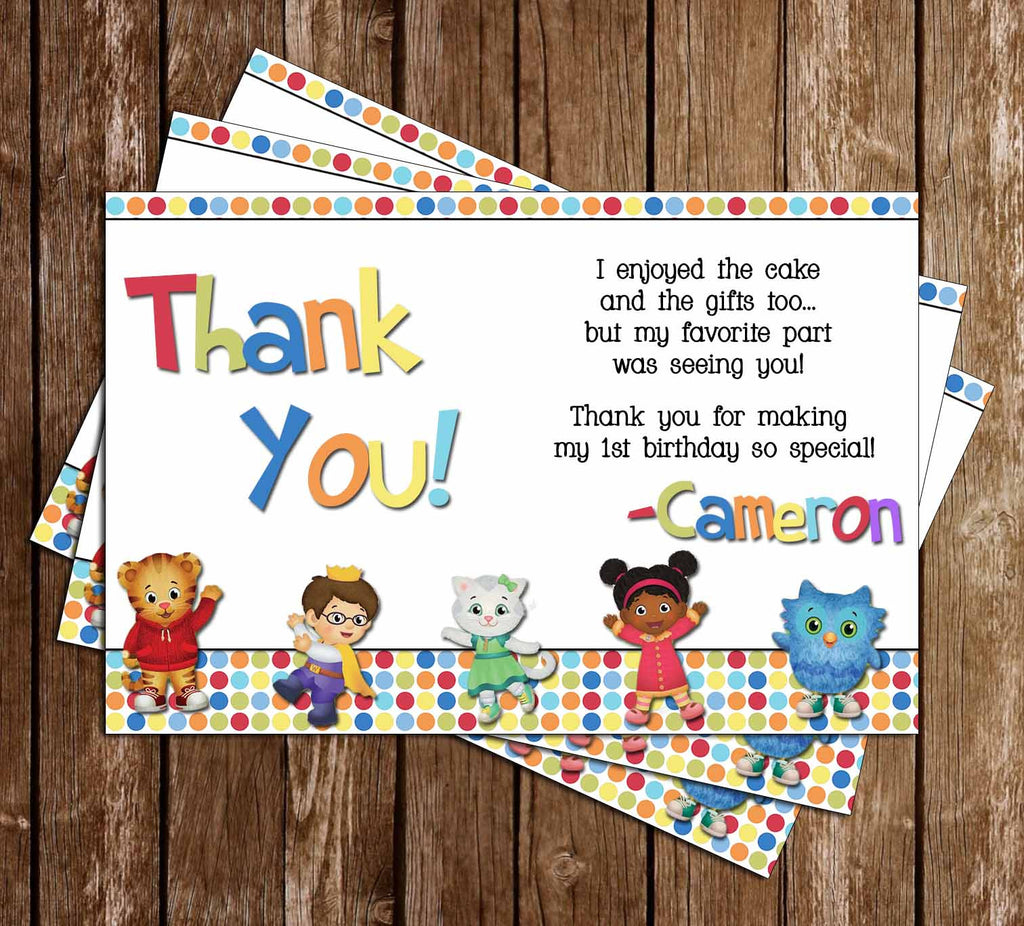 Novel Concept Designs - Daniel Tiger Birthday Thank You Card