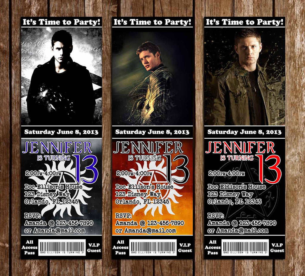 Dean Winchester Supernatural Birthday Party Ticket Invitations