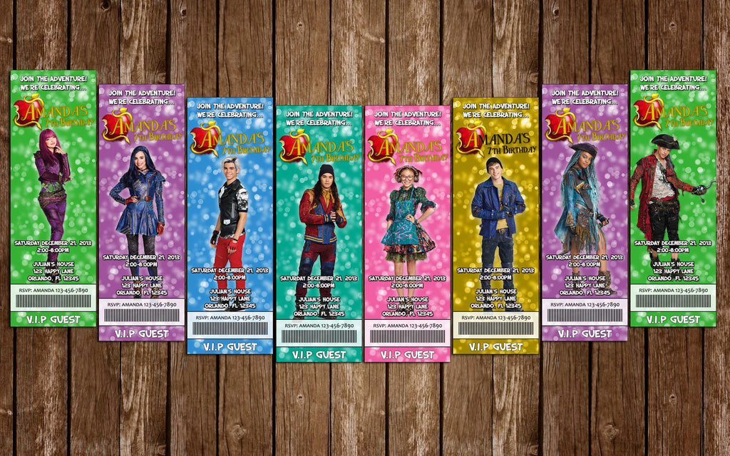 Descendants 2 - Characters - Birthday Party - Ticket Invitation (8 Designs!)