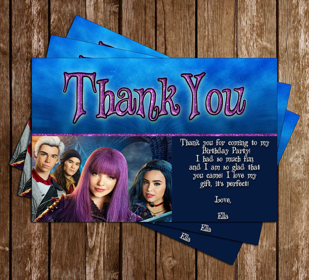Descendants 2 -  Birthday Party - Thank You Card