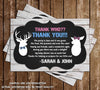 Gender Reveal - Little Buck or Little Doe - Baby Shower - Thank You Card