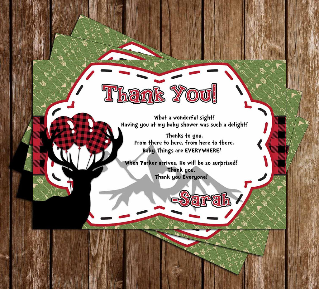 Oh Deer - Lumberjack - Little Hunter - Baby Shower - Thank You Card