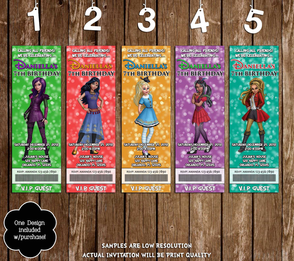 Disney Descendants Wicked World Birthday Party Ticket Invitation 5 Designs