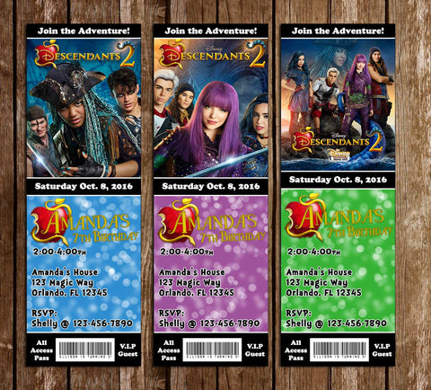 Descendants 2 - Birthday Party - Ticket - Invitation (3 Designs!)
