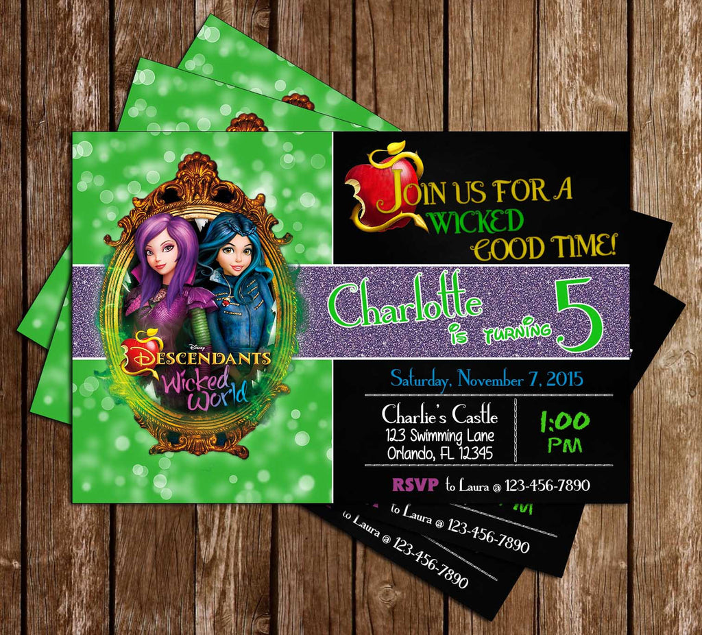 Descendants Wicked World Birthday Party Invitation