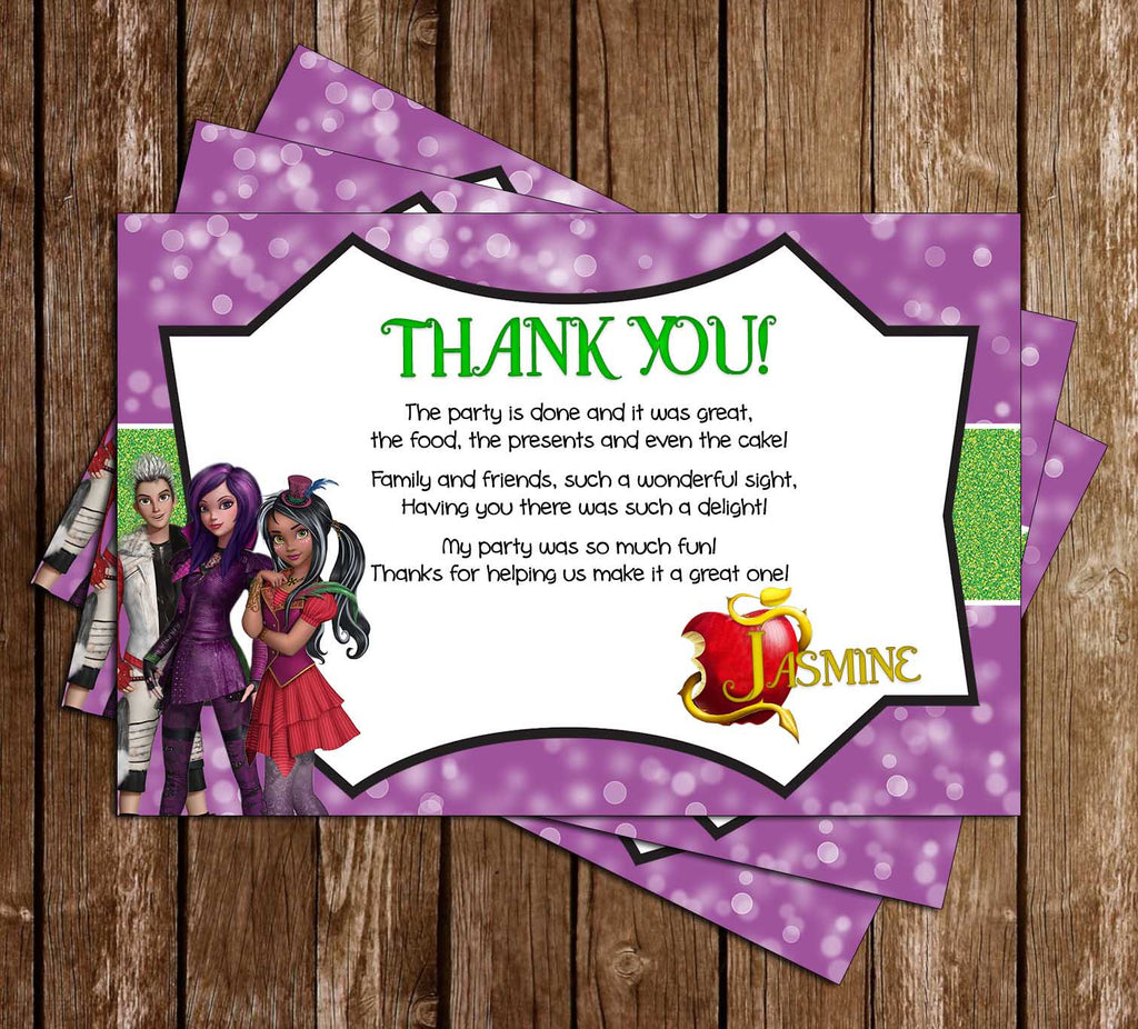 Disney Descendants Wicked World Birthday Thank You Card