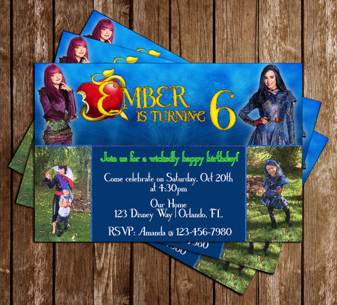 Descendants 2 -  Birthday Party - with Photo Invitation