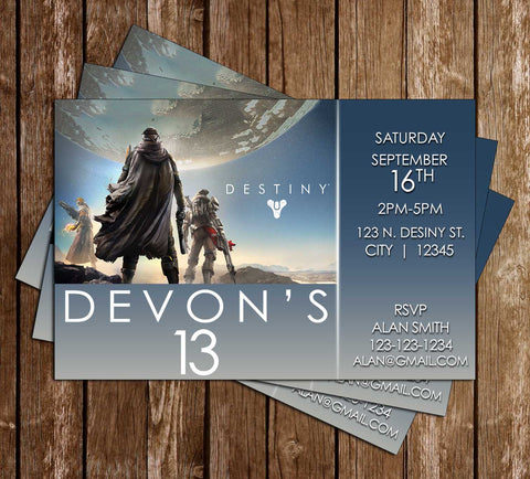 Novel concept designs birthday invitations destiny video game birthday party invitation stopboris Images