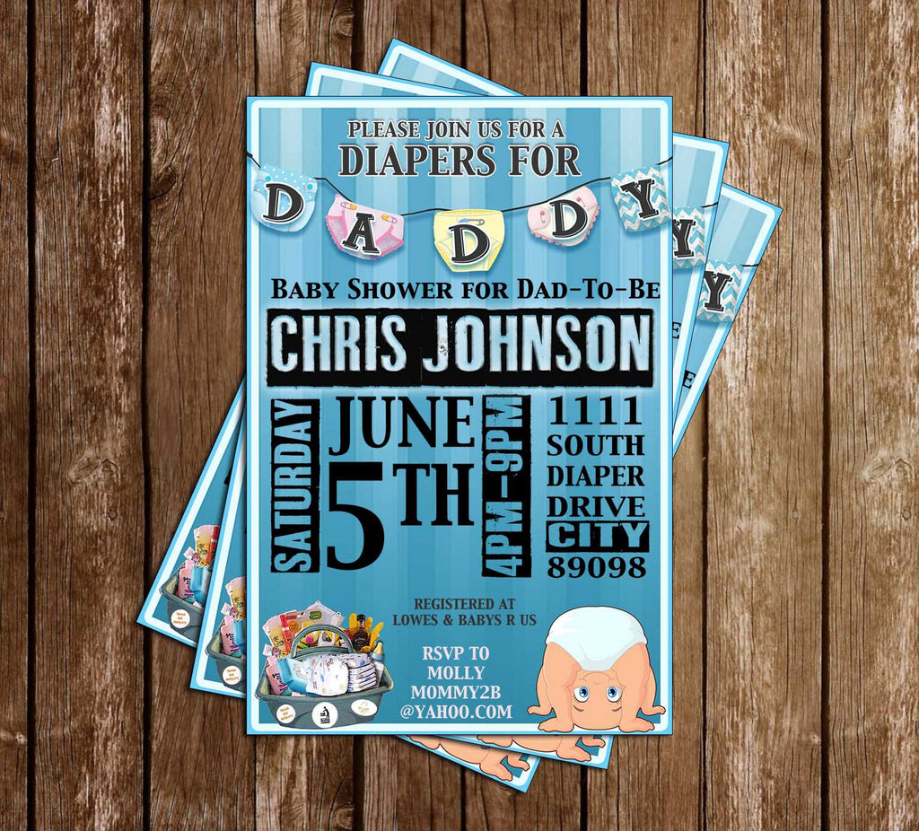 Diaper for Daddy - Diaper Shower - Baby Shower - Invitation