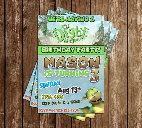 Digby Dragon - Nick Jr - Birthday Party - Invitation