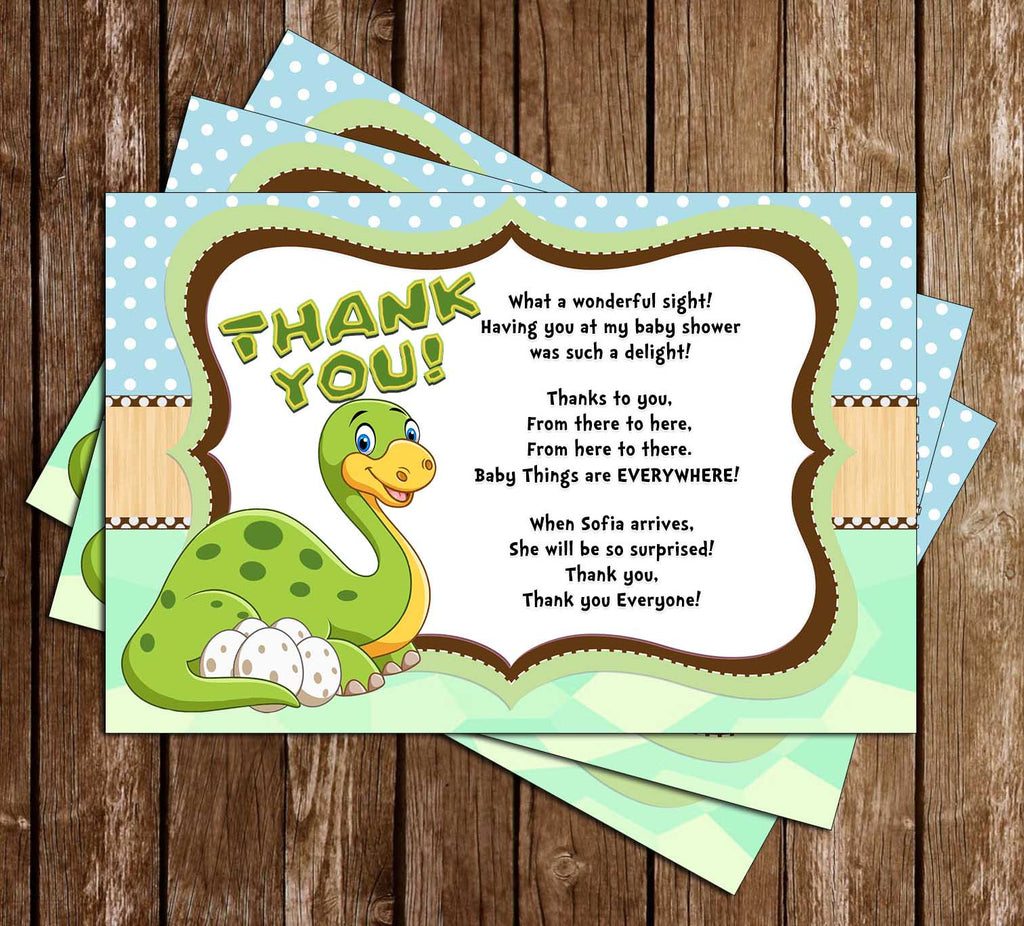 Let's Roar - Dinosaur - Baby Shower - Party - Thank You Card