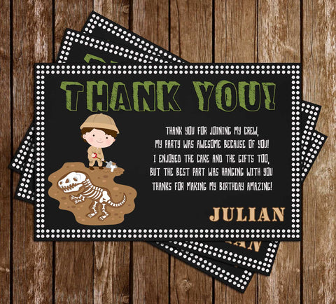 Dino Bones - Paleontologist - Birthday Party - Thank You Card