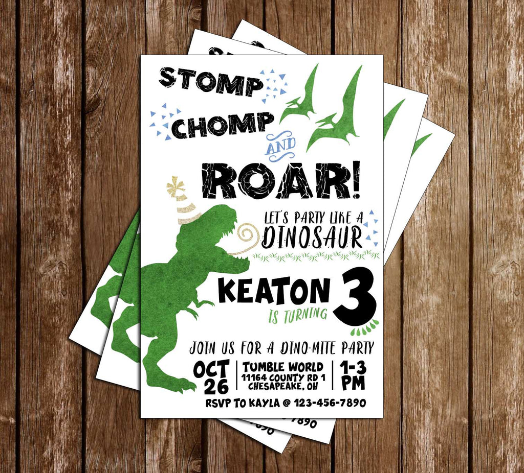 Dinosaur - Stomp Chomp & Roar - Birthday - Invitations