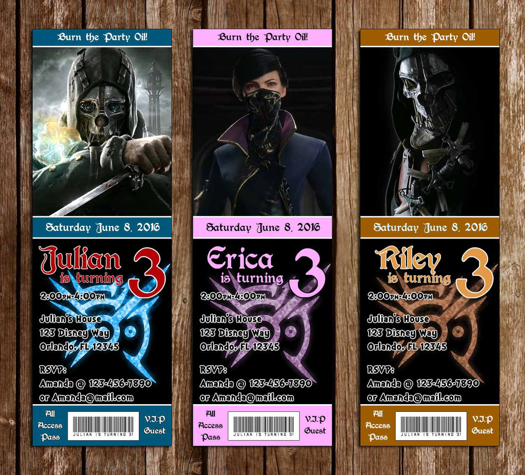 Dishonored Game Birthday Party Ticket Invitations