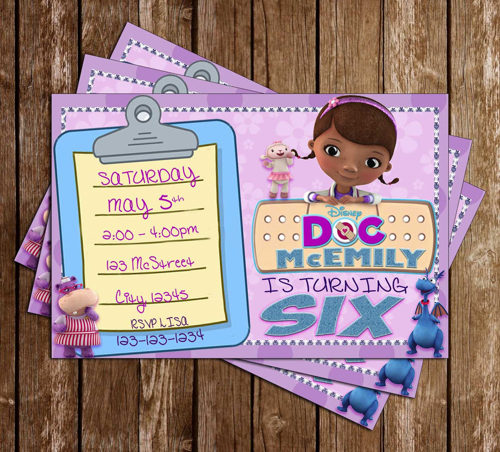 Disney - Doc McStuffins - Purple - Birthday Invitation