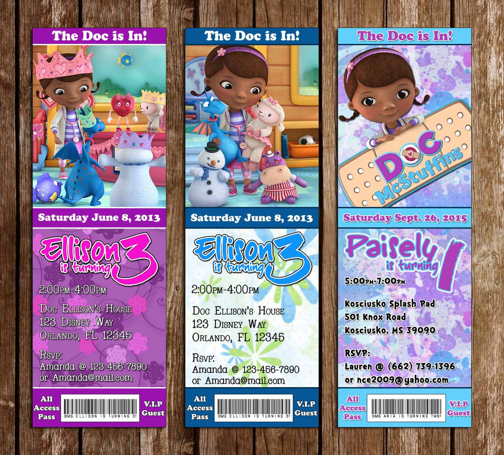 Doc McStuffins Birthday Ticket Invitation (3 Designs)