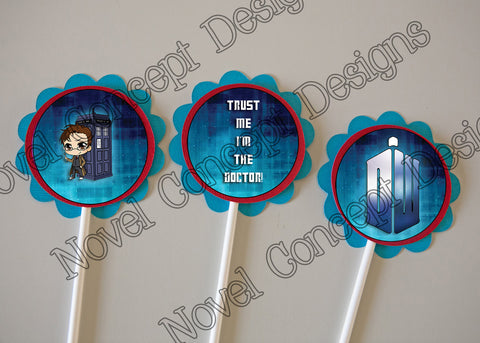 Free Doctor Who Happy Birthday Cupcake Topper / Party Favor  (Tardis)