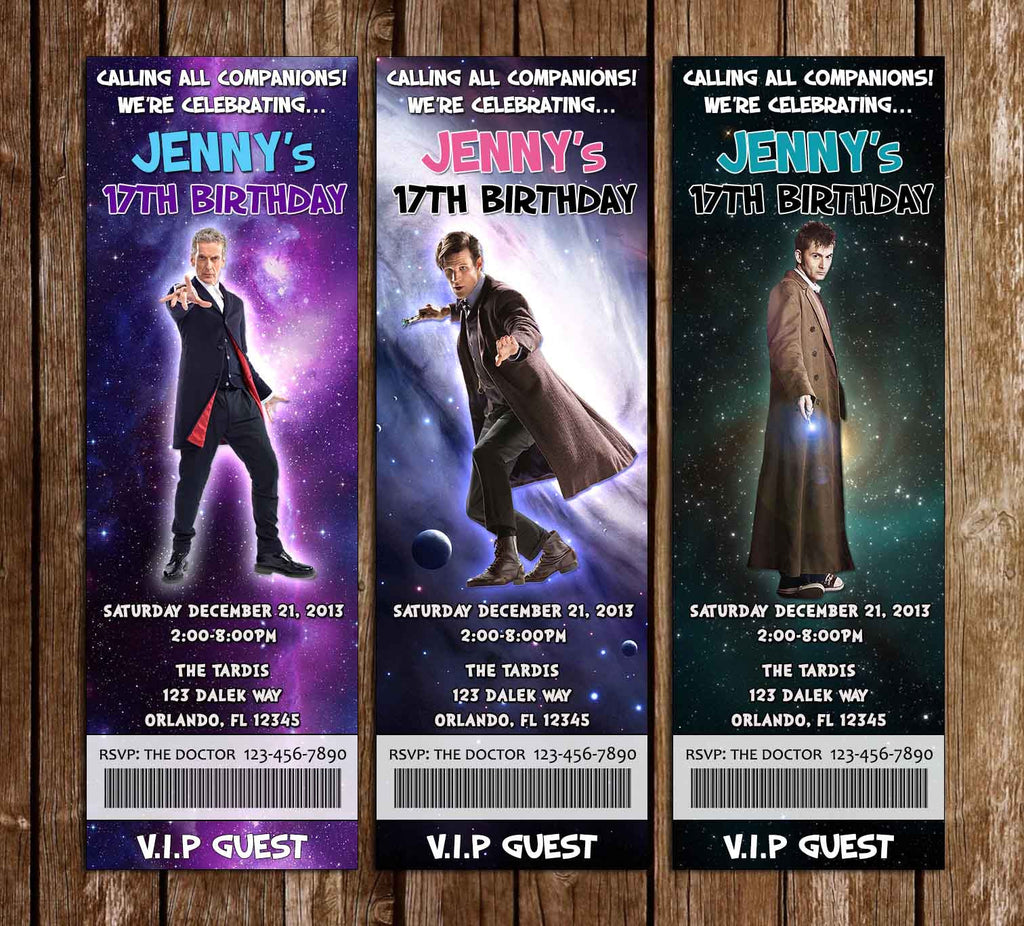 Doctor Who - The Doctors - Ticket Birthday Invitation (3 Designs)
