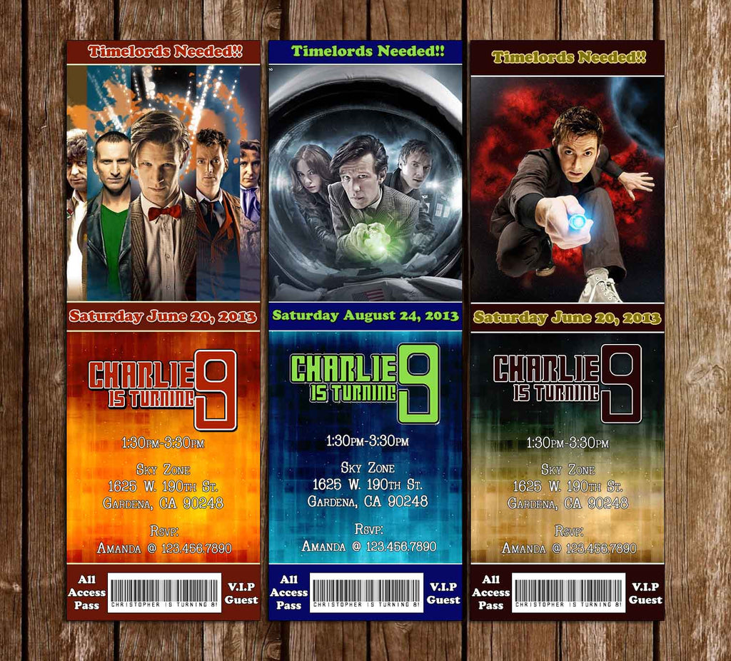 Doctor Who Show Ticket Birthday Invitation (3 Designs)
