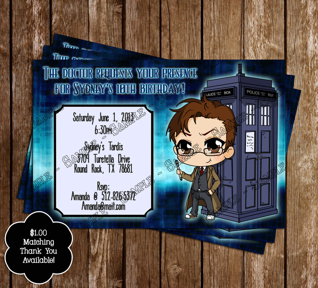 Novel Concept Designs Doctor Who Birthday Invitation 10th