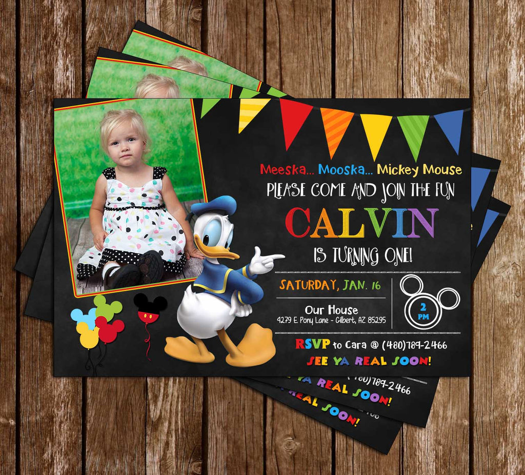 Donald Duck - Chalkboard Birthday Invitation