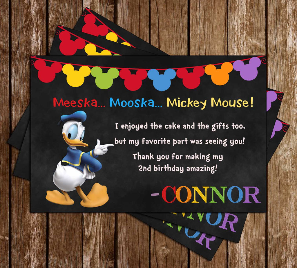 Donald Duck - Mickey Mouse - Chalkboard Birthday - Thank You Card