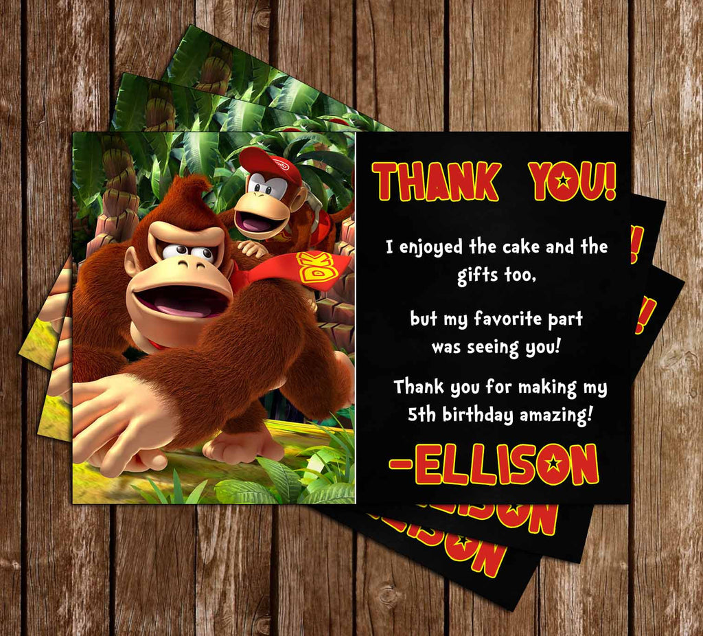 Donkey Kong Video Game Birthday Thank You Card
