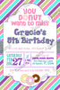 You Donut Want to Miss - Doughnut - Baking - Birthday Party Invitation