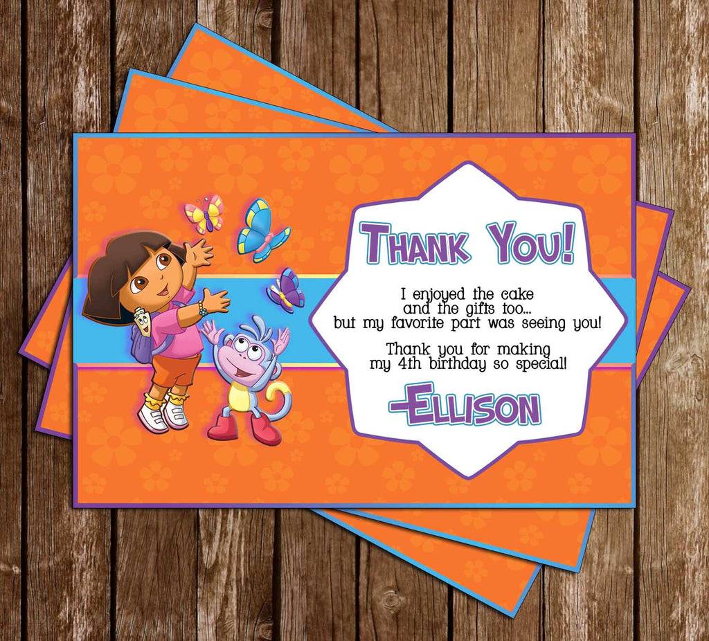 Novel concept designs dora the explorer nick jr birthday party dora the explorer nick jr birthday party thank you card filmwisefo Images