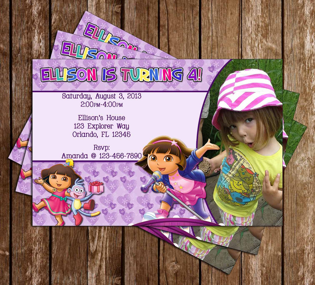 Novel Concept Designs - Nickelodeon Dora the Explorer Show Birthday Party Invitation with Phot