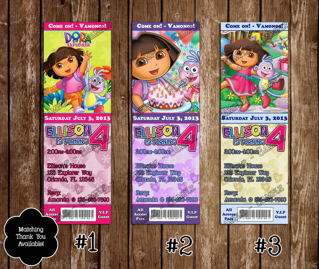 Novel Concept Designs Dora the Explorer Birthday Party Ticket