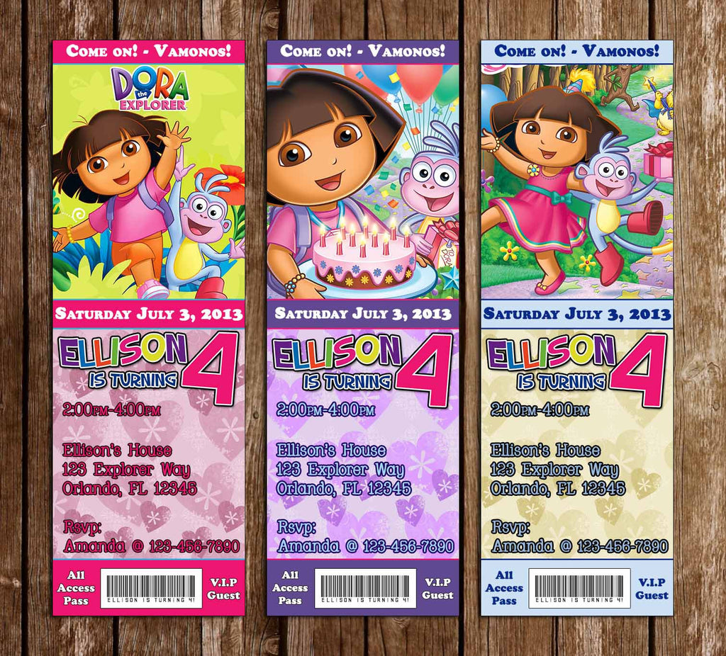 Dora the Explorer Birthday Party Ticket Invitation
