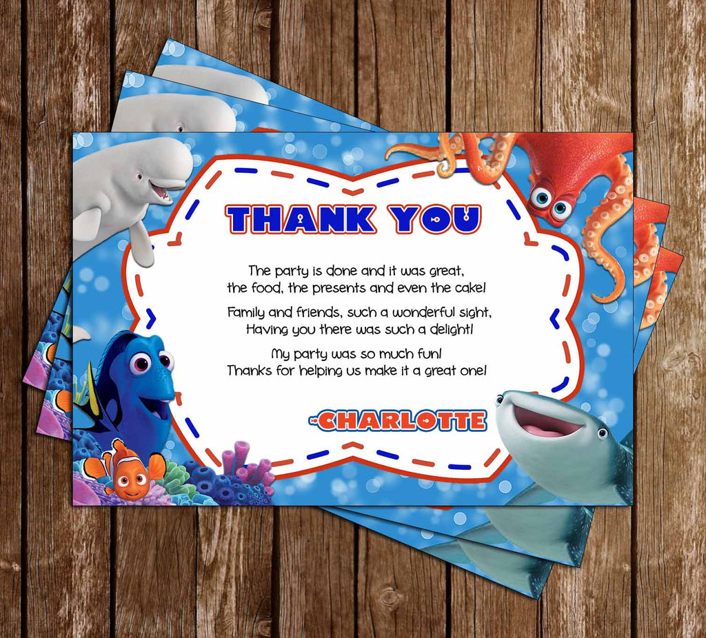 Finding Dory Movie Birthday Party Thank You Card