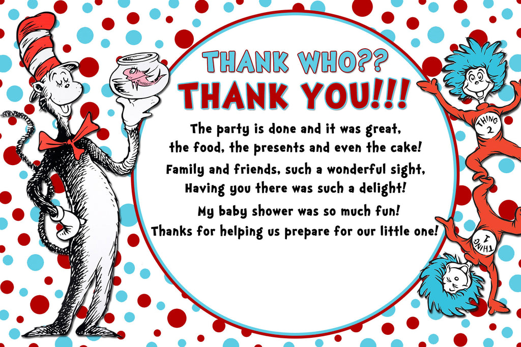 image regarding Thing 2 Printable called Cat within just the Hat - Issue 1 and Detail 2 - Tall - Little one Shower Invitation Printable