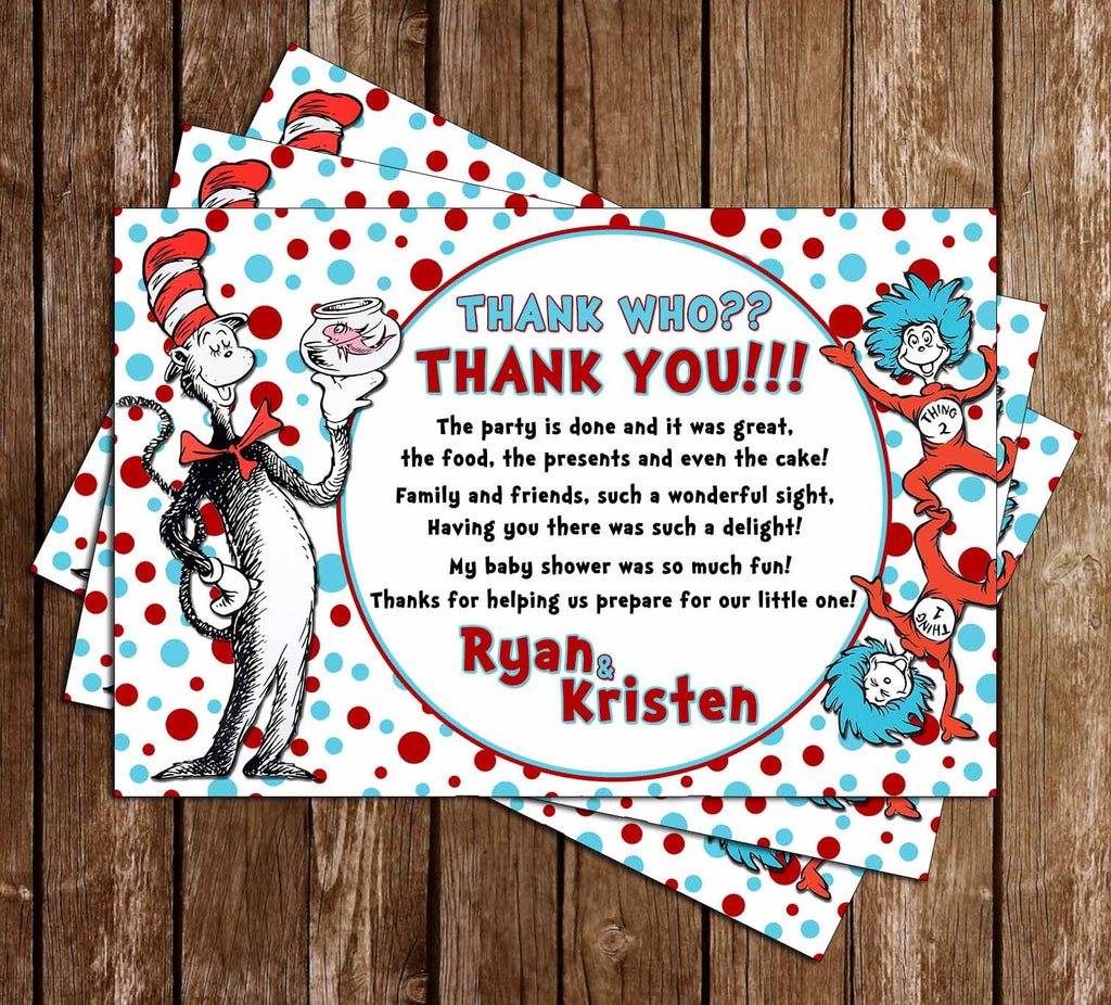 Dr. Seuss Cat in the Hat Baby Shower Thank You