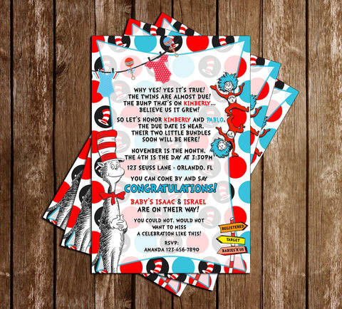 Cat in the Hat - Thing One & Thing Two - Tall - Twins Baby Shower - Invitation