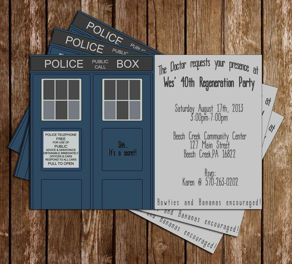 Doctor Who Show Tardis Birthday Invitation (2 Designs)