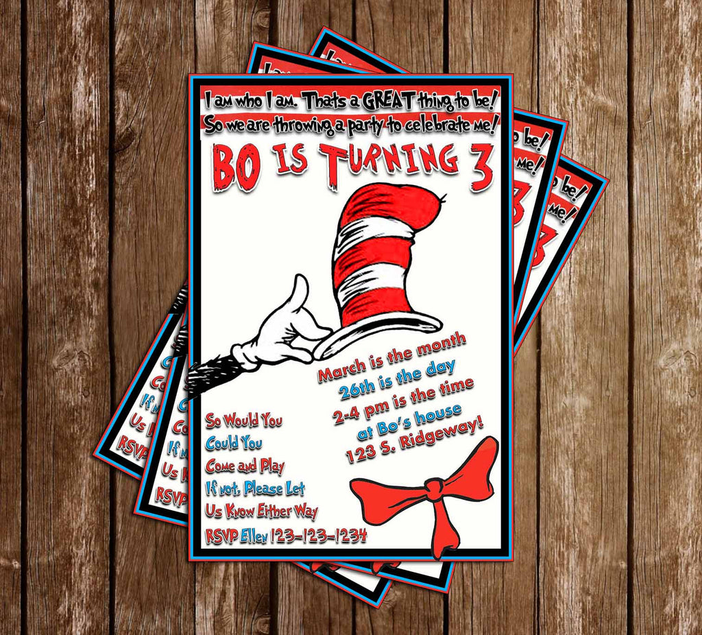 Cat in the Hat - Dr Seuss - Birthday Party Invitation - Printable