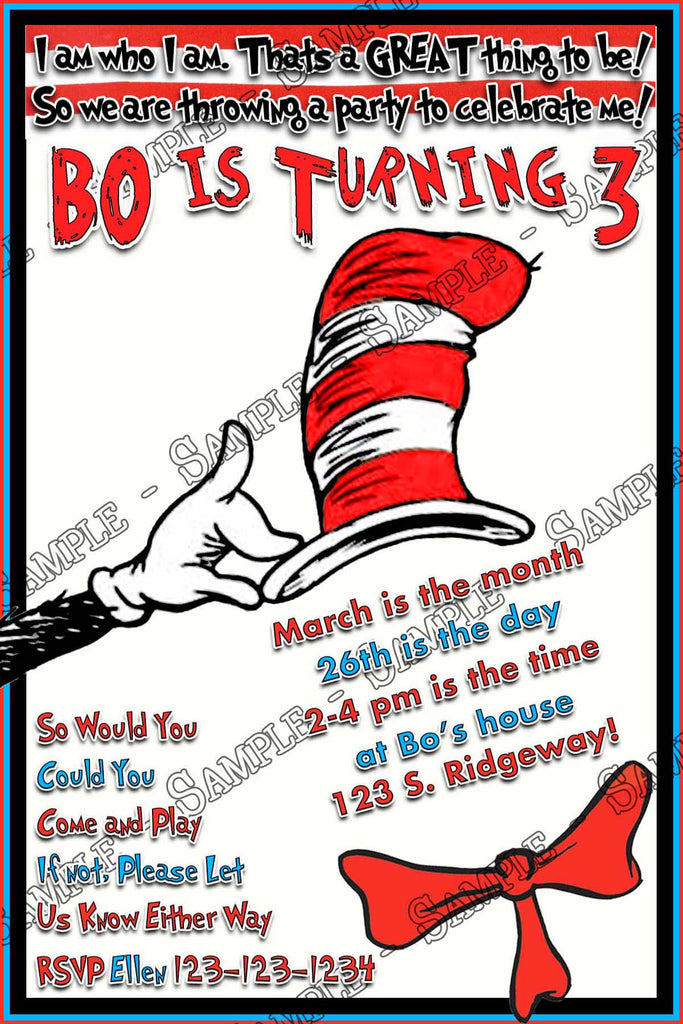 Groovy The Cat In The Hat Dr Seuss Birthday Party Invitation Printable Interior Design Ideas Truasarkarijobsexamcom