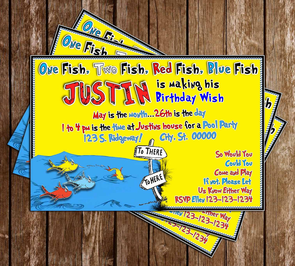 One Fish - Two Fish - Dr Seuss - Birthday - Invitation