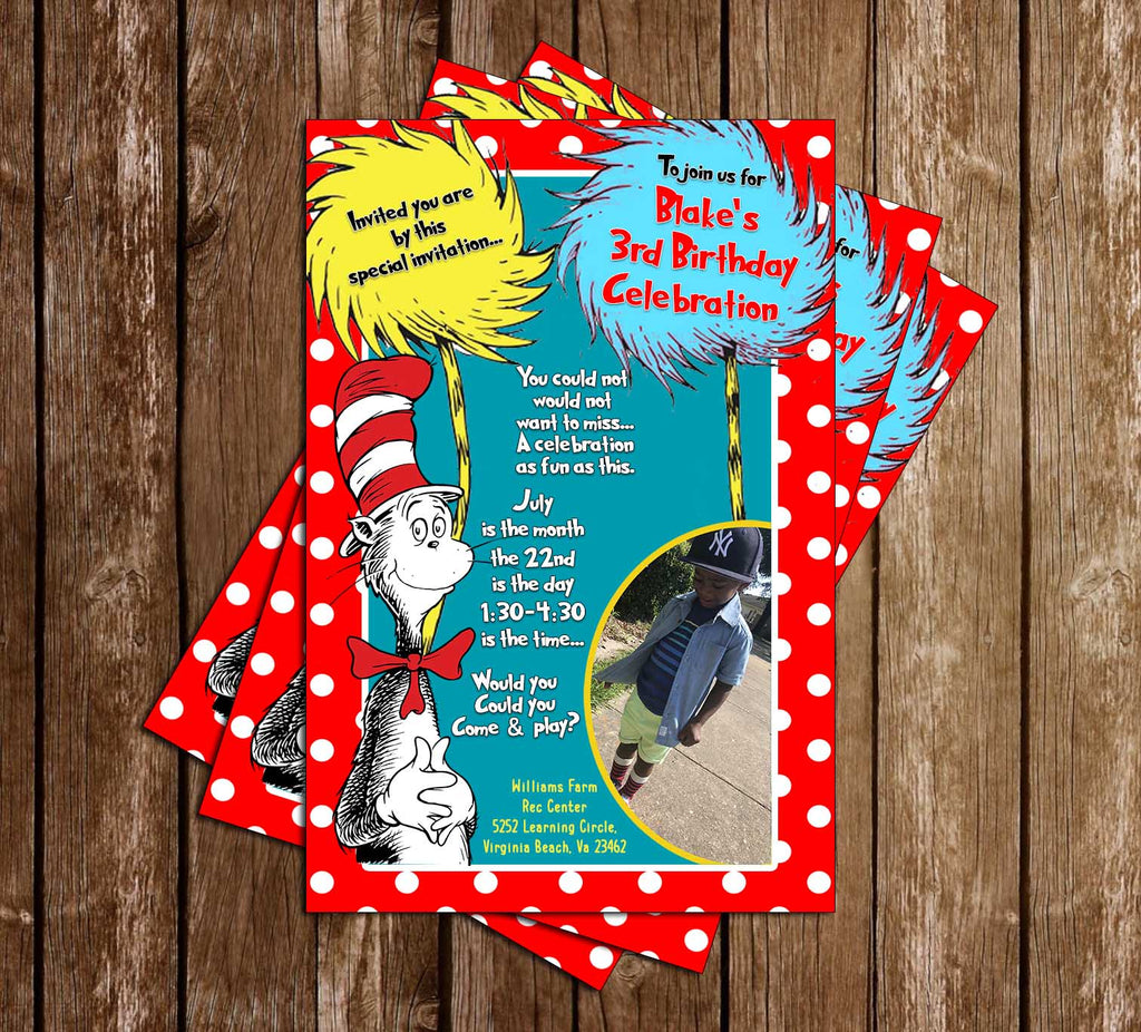Cat in the Hat - Dr Seuss - Photo - Birthday Party - Invitation