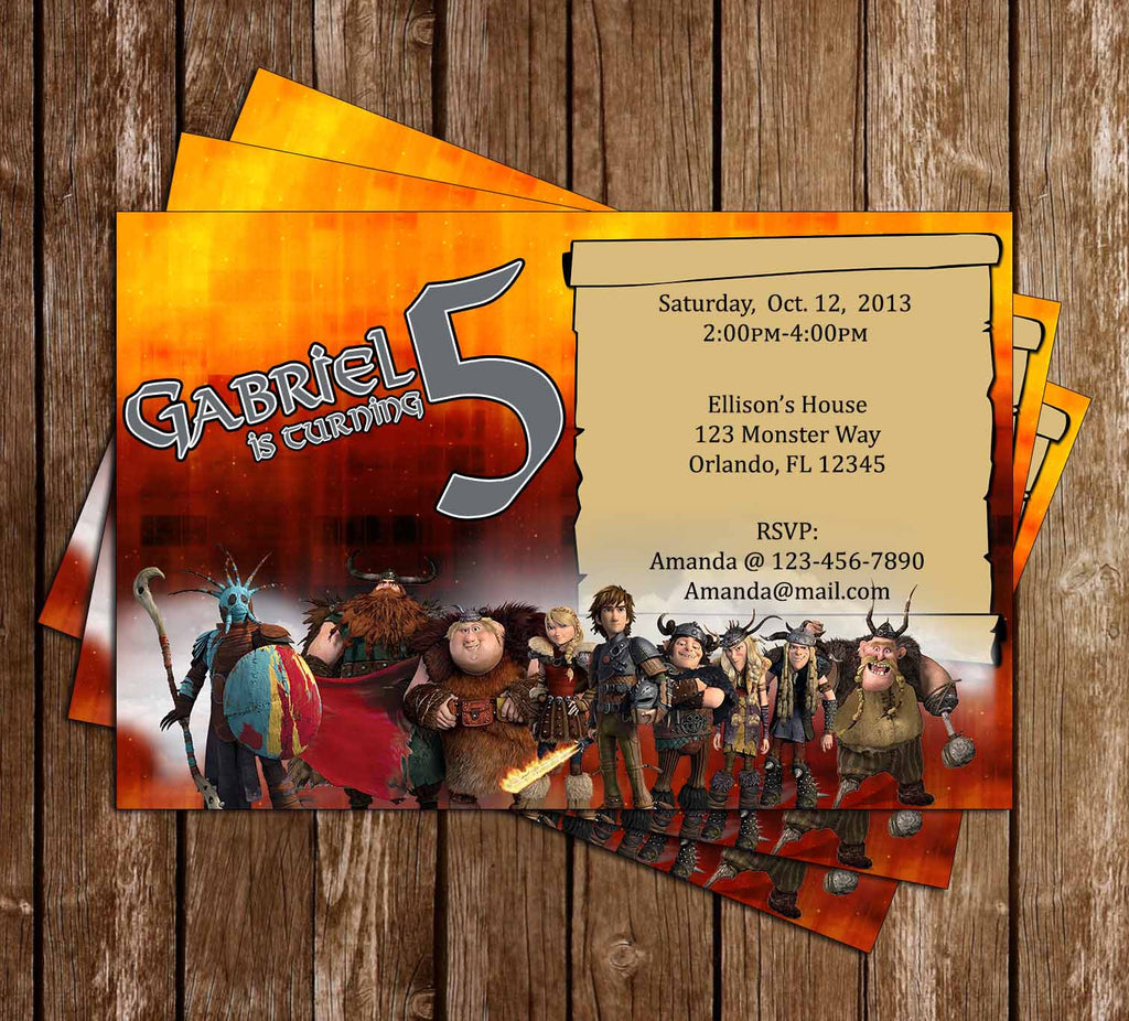 How to Train You Dragon Birthday Party Invitation