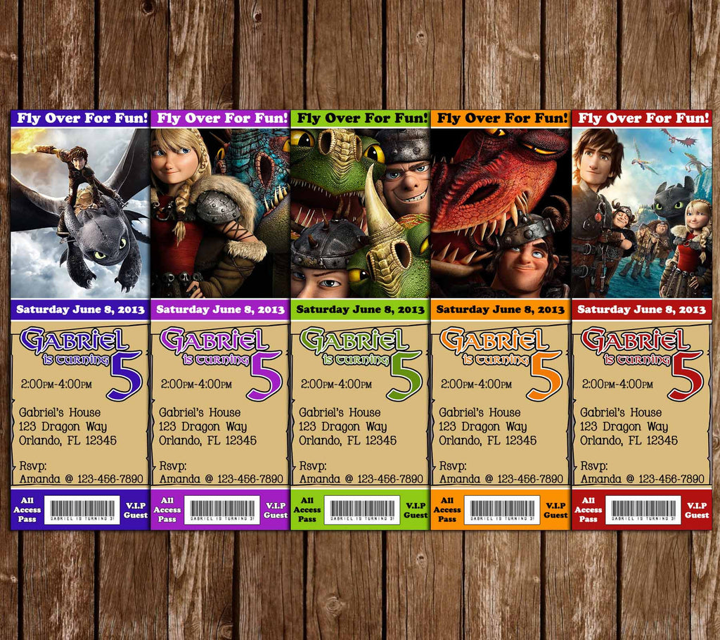 How to Train You Dragon Birthday Party Ticket Invitation