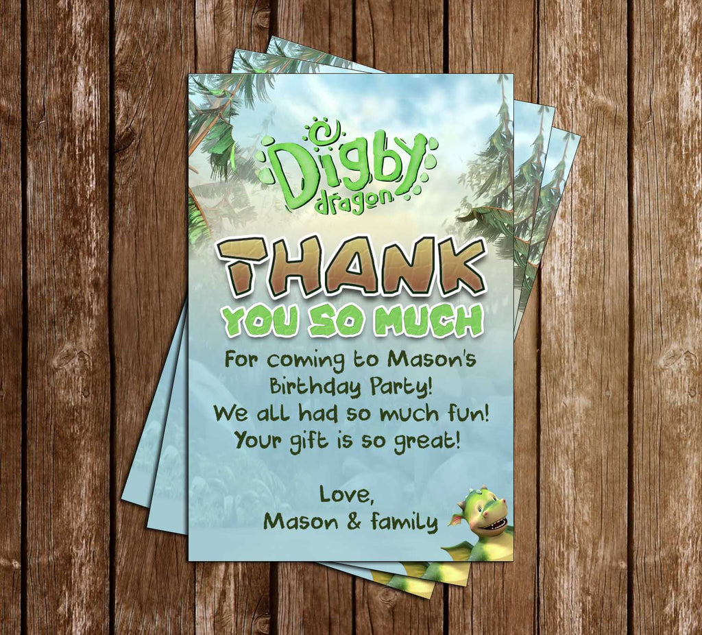 Digby Dragon - Birthday Party - Thank You Card