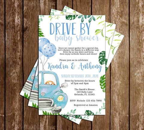 Drive By Baby Shower - Covid - Boy - Invitation
