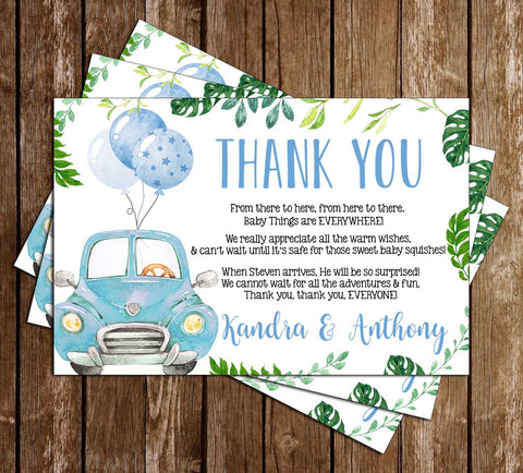 Drive By Baby Shower - Covid - Boy - Thank You Card