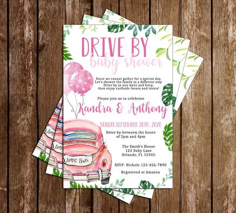Drive Through Baby Shower - Quarantine - Girl - Party - Invitation