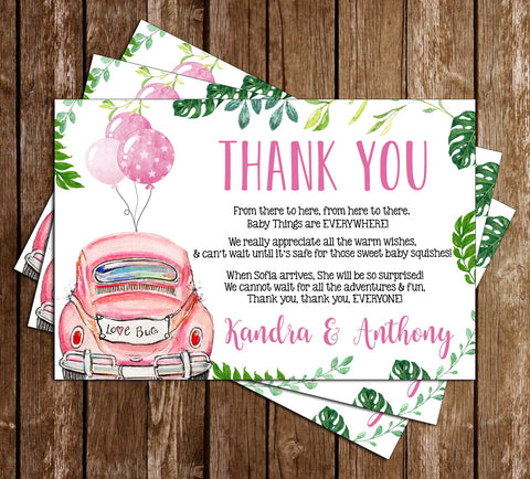 Drive By Baby Shower - Covid - Girl - Thank You Card