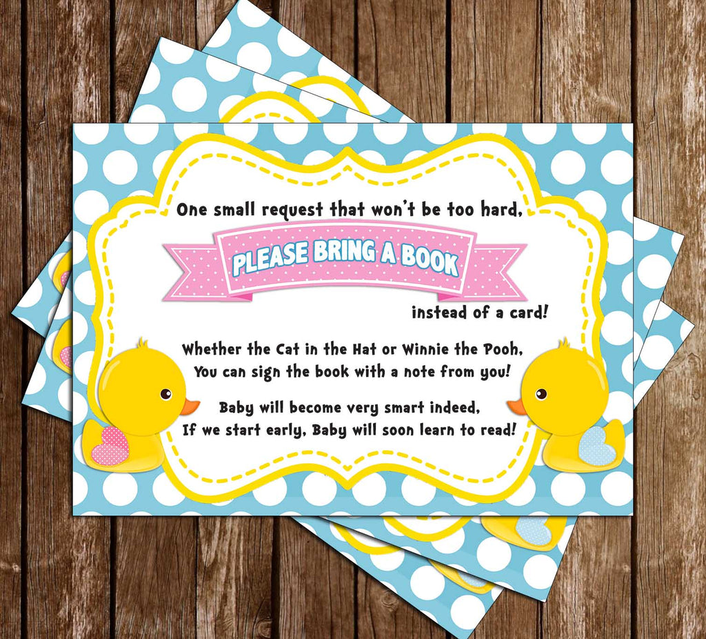 Waddle Baby Be? - Duck Gender Reveal - Baby Shower - Bring A Book Insert